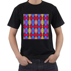 Colorful Painting Goa Pattern Men s T Shirt (black) (two Sided)