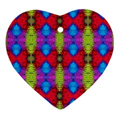Colorful Painting Goa Pattern Heart Ornament (2 Sides)