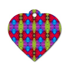 Colorful Painting Goa Pattern Dog Tag Heart (two Sides) by Costasonlineshop