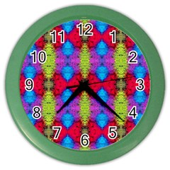 Colorful Painting Goa Pattern Color Wall Clocks by Costasonlineshop