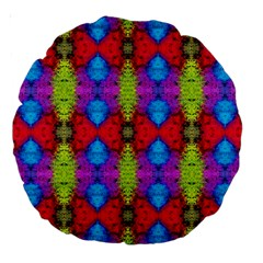 Colorful Painting Goa Pattern Large 18  Premium Round Cushions by Costasonlineshop