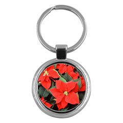 Poinsettia Key Chains (round)  by trendistuff