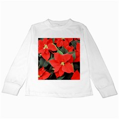 Poinsettia Kids Long Sleeve T Shirts by trendistuff