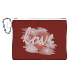 Cute Bright Red Romantic Watercolor Love Heart By Lucy   Canvas Cosmetic Bag (large)   2d38vecadyda   Www Artscow Com Front