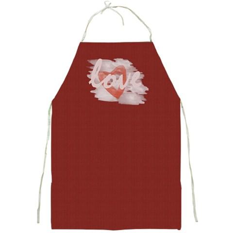 Bright Red Romantic Heart Love By Lucy   Full Print Apron   Mh3xx6jhubdz   Www Artscow Com Front
