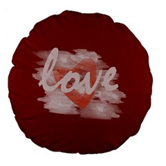 Cute Bright Red Romantic Watercolor Love Heart Cushion By Lucy   Large 18  Premium Round Cushion    6xmd3q3c0ms9   Www Artscow Com Front