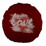 Cute Bright Red Romantic Watercolor Love Heart Cushion - Large 18  Premium Round Cushion