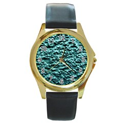Green Metallic Background, Round Gold Metal Watches by Costasonlineshop