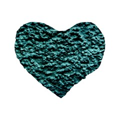 Green Metallic Background, Standard 16  Premium Flano Heart Shape Cushions by Costasonlineshop