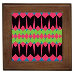 Rhombus And Other Shapes Patternframed Tile by LalyLauraFLM
