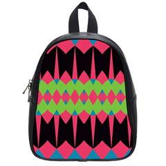 Rhombus And Other Shapes Patternschool Bag (small) by LalyLauraFLM