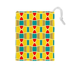 Colorful Chains Pattern Drawstring Pouch by LalyLauraFLM