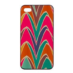 Bended Shapes In Retro Colors			apple Iphone 4/4s Seamless Case (black) by LalyLauraFLM