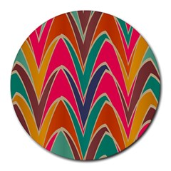 Bended Shapes In Retro Colorsround Mousepad by LalyLauraFLM