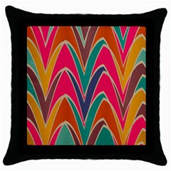 Bended Shapes In Retro Colors			throw Pillow Case (black) by LalyLauraFLM