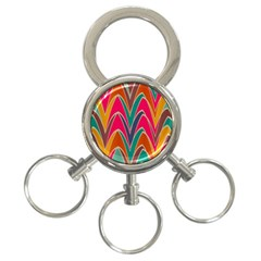 Bended Shapes In Retro Colors			3 Ring Key Chain by LalyLauraFLM