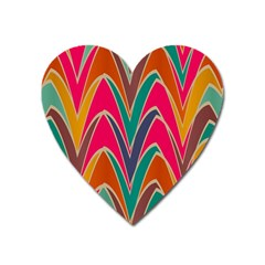 Bended Shapes In Retro Colors			magnet (heart) by LalyLauraFLM