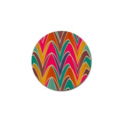 Bended Shapes In Retro Colors			golf Ball Marker by LalyLauraFLM