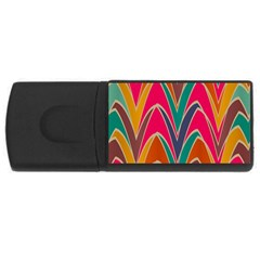 Bended Shapes In Retro Colors			usb Flash Drive Rectangular (4 Gb) by LalyLauraFLM