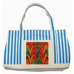 Bended Shapes In Retro Colorsstriped Blue Tote Bag by LalyLauraFLM
