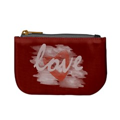 Cute Romantic Watercolor Heart Love Red By Lucy   Mini Coin Purse   Euem1qq6zt7a   Www Artscow Com Front