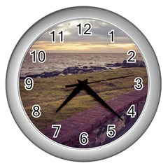 Playa Verde Coast In Montevideo Uruguay Wall Clocks (silver)  by dflcprints