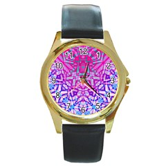 Ethnic Tribal Pattern G327 Round Gold Metal Watches by MedusArt
