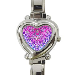Ethnic Tribal Pattern G327 Heart Italian Charm Watch by MedusArt