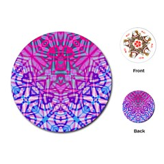 Ethnic Tribal Pattern G327 Playing Cards (round)  by MedusArt
