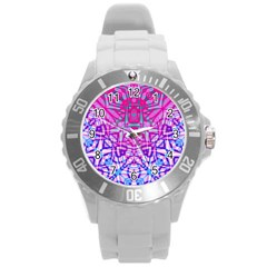 Ethnic Tribal Pattern G327 Round Plastic Sport Watch (l) by MedusArt