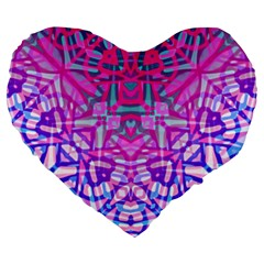 Ethnic Tribal Pattern G327 Large 19  Premium Heart Shape Cushions by MedusArt