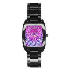 Ethnic Tribal Pattern G327 Stainless Steel Barrel Watch by MedusArt