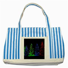 Christmas Lights 1 Striped Blue Tote Bag  by trendistuff