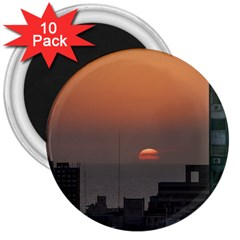 Aerial View Of Sunset At The River In Montevideo Uruguay 3  Magnets (10 Pack)  by dflcprints