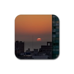 Aerial View Of Sunset At The River In Montevideo Uruguay Rubber Coaster (square)  by dflcprints