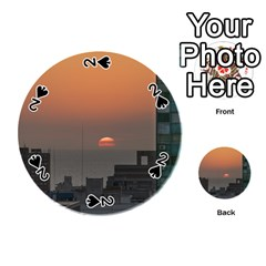 Aerial View Of Sunset At The River In Montevideo Uruguay Playing Cards 54 (round)