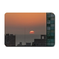 Aerial View Of Sunset At The River In Montevideo Uruguay Small Doormat  by dflcprints