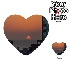 Aerial View Of Sunset At The River In Montevideo Uruguay Multi Purpose Cards (heart)  by dflcprints