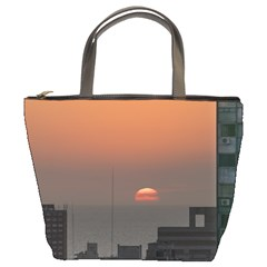 Aerial View Of Sunset At The River In Montevideo Uruguay Bucket Bags by dflcprints