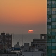 Aerial View Of Sunset At The River In Montevideo Uruguay Magic Photo Cubes by dflcprints