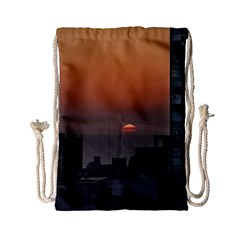 Aerial View Of Sunset At The River In Montevideo Uruguay Drawstring Bag (small) by dflcprints