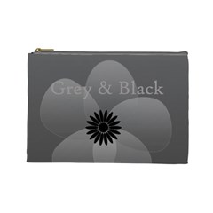 Cute Grey Black Sheer Flower By Lucy   Cosmetic Bag (large)   9s8pbog7j8td   Www Artscow Com Front