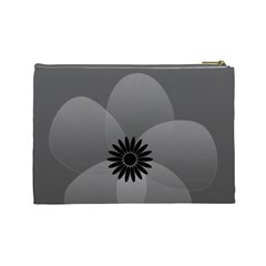 Cute Grey Black Sheer Flower By Lucy   Cosmetic Bag (large)   9s8pbog7j8td   Www Artscow Com Back