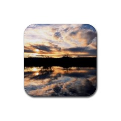 Sun Reflected On Lake Rubber Square Coaster (4 Pack)  by trendistuff