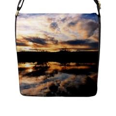 Sun Reflected On Lake Flap Messenger Bag (l)  by trendistuff