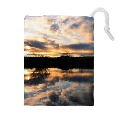 Sun Reflected On Lake Drawstring Pouches (extra Large)