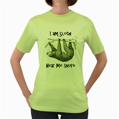 Sloth Women s Green T Shirt