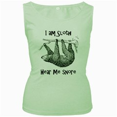 Sloth Women s Green Tank Tops
