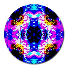 Animal Design Abstract Blue, Pink, Black Round Mousepads