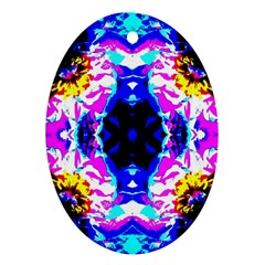 Animal Design Abstract Blue, Pink, Black Ornament (oval)  by Costasonlineshop